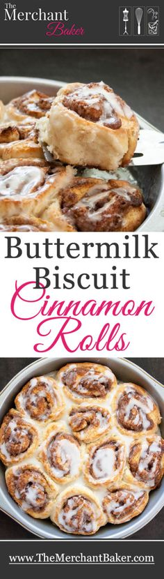 Buttermilk Biscuit Cinnamon Rolls. No yeast, no wait. Fluffy buttermilk biscuits with a sweet cinnamon filling, drizzled with vanilla icing. Just mix, roll and bake!