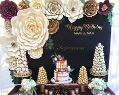 Paper Flower Backdrop, Paper Flowers, Gold Backdrop, Floral Backdrop, Birthday Decorations, Wedding Decorations, Quinceanera Decorations, Fiesta Decorations, Table Decorations