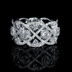 Diamond Wedding Rings 2017 / 2018 : Image Description This gorgeous white gold wedding band ring, contains 163 round brilliant cut white diamonds of F color, clarity and excellent cut and brilliance weighing carats total. White Gold Wedding Bands, Diamond Wedding Rings, White Gold Rings, Wedding Ring Bands, Diamond Rings, Solitaire Rings, Solitaire Diamond, Wedding Jewelry, Ring Verlobung