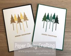 Paper Daisy Crafting: Five Christmas Trees card in Rainbow Colours