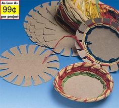 Basket weaving-these are kits with raffia, but I wonder if you could use paper plates and yarn?