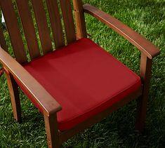 Sunbrella(R) Piped Outdoor Dining Chair Cushion, Jockey Red