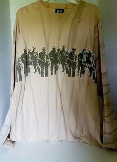 Mens Denim Demand Long Sleeve Apricot Soldiers Graphic Shirt 3 XL
