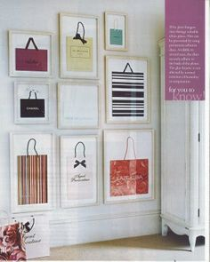 DIY Inspiration - Shopping Bags Framed as Art. How creative and inexpensive.