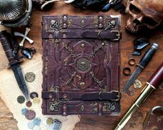 Propnomicon: Tomecraft  Pirate Tome Mille Cuirs returns to our pages with this hand bound pirate tome.  I love the themed background props.