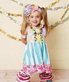 Look what I found on #zulily! Teal & White Stripe Scalloped Dress - Toddler & Girls #zulilyfinds