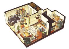 messy interior pixel isometric apartments concept drawing reference engine wallbase cc