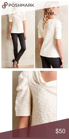 "Anthropologie Cedar Street Tee Textured cotton-polyester-spandex blend Pullover styling Machine wash Imported  24""L Style No. 4112265635833 Anthropologie Sweaters Cowl & Turtlenecks"