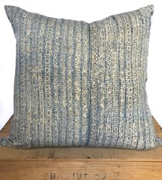 18 inch Vintage Indigo Hmong Pillow Cover by OneFineNest on Etsy