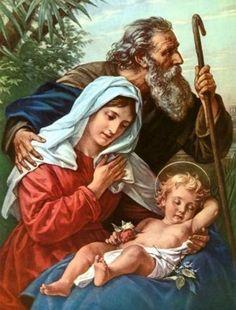 Holy family on the run. Jesus Mother, Blessed Mother Mary, Blessed Virgin Mary, Catholic Prayers, Catholic Art, Catholic Saints, Ora Et Labora, New Years Prayer, Religious Photos