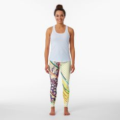 Pineapple Pattern, Best Leggings, Blue Backgrounds, Diamond Shapes, Knitted Fabric, Colorful Leggings, Chiffon Tops, Sportswear, Cool Designs