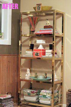 brass bookshelves