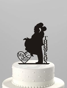 Wedding Cake Topper Silhouette Couple Mr & Mrs Personalized with Last Name, Acrylic Cake Topper [CT18f] on Etsy, $22.00