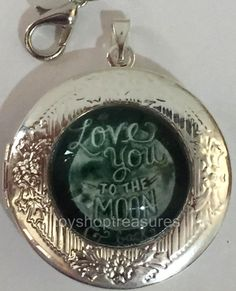 New Vintage Style Love You to the Moon and Back Locket Necklace - Silver  bf