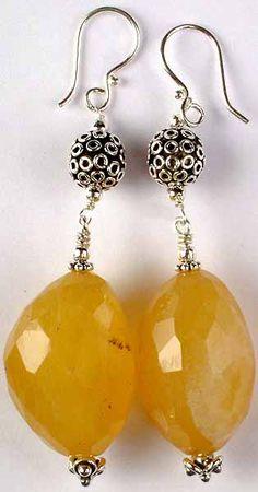 Yellow Chalcedony Chunky Earrings