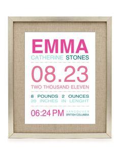 Digital Printable Birth Announcement Print - Birth Announcement Wall Art - Digital File ONLY by LuvEssential on Etsy