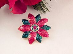 Poinsettia Flower Brooch Red and Green Enamel Pin Vintage 1980's Rhinestone Christmas Jewelry