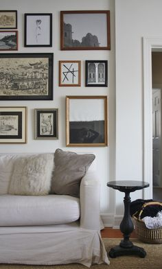 Neutral gallery wall above couch in living room -- vintage modern style above couch decor Living Room Photos, Living Room Mirrors, Living Room Art, Living Room Modern, Living Room Designs, Gallery Wall Living Room Couch, Small Living, Living Spaces, Above Couch Decor