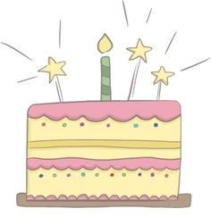 Illustration Of A Yellow And Pink Birthday Cake Topped With Candles Sparklers Cakes