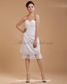 Taffeta Sweetheart Knee-Length A-line Wedding Dress with Ruffle