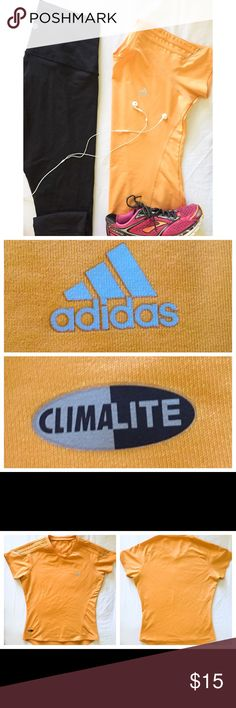 Adidas Running T-Shirt With Reflective Detailing Adidas Running T-Shirt With Reflective Detailing• Gently Used, But Still In Good Condition• Orange Color• Piping With Reflective Strips On Shoulders (See Picture For Reference)• Reflective Adidas Logo On Front Chest• ClimaLite Technical Material•Size Small Adidas Tops