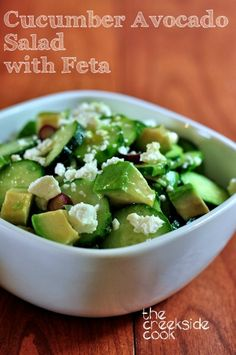 {USA}Cool, crisp cucumbers, combine with the creamy richness of avocado in this fast and easy salad! Cucumber and Avocado Salad with Feta on The Creekside Cook