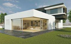 Une gigantesque baie vitrée pour cette maison contemporaine