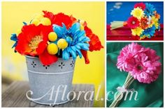Little metal buckets, gerberas in wine glasses, even old cans...more center piece and decor ideas