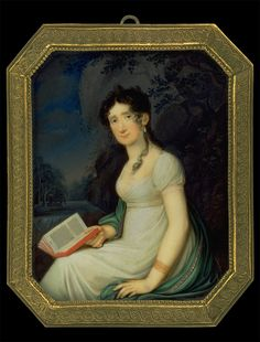 C.H.N. Oppermann, Lady reading in White Empire Gown, ca. 1800