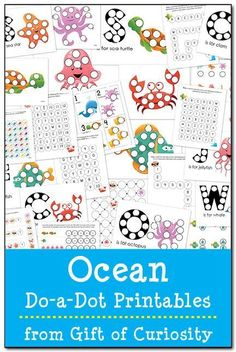 28 pages of ocean do-a-dot worksheets featuring clams, crabs, fish, jellyfish, octopuses, sea stars, sea turtles, and whales to help kids work on shapes, colors, patterns, letters, and numbers. #DoADot #handsonlearning || Gift of Curiosity