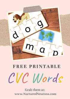 Here's a free printable CVC words game with 40 different cards! Your little one's will love this to play to practice their early reading and writing skills! Your children will get the chance to develop may phonics skills such as segmenting, sounding out and blending as well as letter formation and recognition! #phonics #kidsprintables #CVCwords #preschoolers #kindergarten #learningtoread #kidsactivities