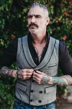Berendo's Tooth Double Breasted Waistcoat #mensfashion #menswear #menstyle #inked #vintage #fashion #style #hair #menshair #menshaircut #menshairstyle #madeinusa #grooming #beard #bearded #silverfox #silverhair #new #newlook #tattoo #tattoos #ink #inkedup #style #swag #madeinusa #vintage #vintageinspired #trending #mensfashiontrends #designer #fashionhistory #tattoo #badass  #dapper #losangeles #sèxy #men American Made Clothing, Double Breasted Waistcoat, Dapper Gentleman, Silver Hair, Haircuts For Men, Fashion History, Old Hollywood, Houndstooth, New Look
