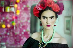 ❀ Flower Maiden Fantasy ❀ beautiful photography of women and flowers - Frida Kahlo inspired photoshoot