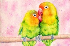 Closeup of the Lovebirds Sketch - Susaleena