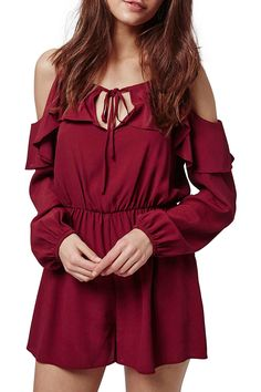 Topshop Ruffled Cold Shoulder Romper available at Red Playsuit, Cold Shoulder Romper, Slide, Long Sleeve Romper, Rompers Women, Nordstrom Dresses, Summer Outfits, Summer Clothes, Topshop