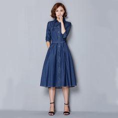 Corea Casual Jeans Vestido 2015 Señoras Elegantes Vestido Quinta Manga Larga Vestidos de Mezclilla Azul para Las Mujeres Otoño Invierno Coreano Vestido