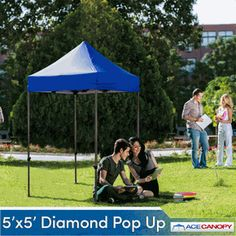 Ace Canopy Diamond Pop Up Tent 5u0027x5u0027 - In white with cute fabric & 10u0027 x 10u0027 Pop-Up Tent with Full Color Printed Canopy | Pop Up ...