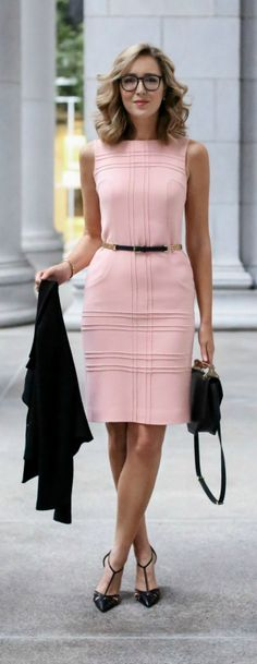 pink sheath dress, cropped double breasted jacket, pointed toe t-strap pumps, black handbag + skinny belt