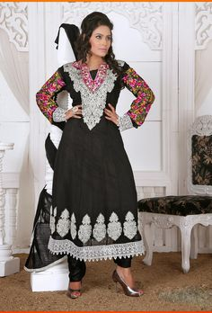 Color: Black Collection: Rashmi Top Fabric: Faux Georgette Bottom Fabric: Santoon Dupatta Fabric: Nazneen Inner : Santoon Sleeve:Half/Full Work: Embroidery Season:Any Size: 36 to 40. Weight: 1 k.g Style: Readymade Anarkali Suits Occasion: Traditional Wear, Causal wear,Ethnic wear,All Festival,Party wear Time to Ship:Ready To Ship