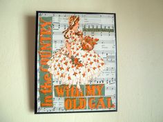 Vintage sheet music decoupaged wall plaque Country by GildedDays