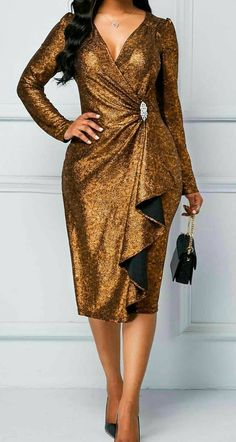 Rosewe Women Dress Golden Sequin New Year Eve Party Long Sleeve Sheath Long Sleeve Gold Brown Ruffle Detail Sequin Dress Royal Blue Lace Dress, Silver Sequin Dress, Maxi Dress With Sleeves, Belted Dress, Sheath Dress, Marine Uniform, Tight Dresses, Dresses Dresses, Party Dresses