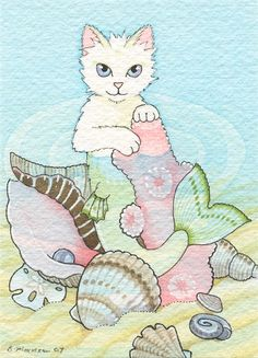 Mermaid Cat Drawings | Bobbing Mercat by B. Mousseau, 2008. #mermaid #art #cute ... | Cat Art