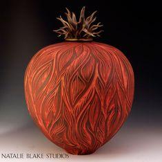 Natalie Blake Studios handmade ceramic porcelain sgraffito carved memorial cremation urn ~ Custom orders welcomed.