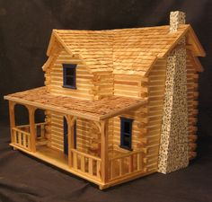 I was driving for Christmas and passed a roadside dollhouse vendor. Which opened a floodgate of memories of how a couple decades back, I wanted to own a log cabin dollhouse. make the quilts, curtains, etc. Work on it, and add to it for years to Cabin Dollhouse, Dollhouse Kits, Wooden Dollhouse, Dollhouse Furniture, Dollhouse Quilt, Dollhouse Design, Cabin Homes, Log Homes, Residential Log Cabins