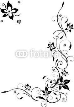 Vektor: Blumenranke, Blüten filigran, Schnörkel