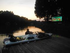 Boat Drive-in Movie Theater! Drive In Movie Theater, Outdoor Cinema, The Row, Boat, Film, Places, Water, Movies, Pictures
