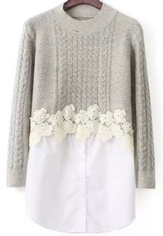 Store Mild Gray Lengthy Sleeve Lace Embellished Cable Knit Sweater on-line. abaday gives Mild Gray Lengthy Sleeve Lace Embellished Cable Knit Sweater & extra to suit your trendy wants. Diy Clothes Refashion, Sweater Refashion, Diy Clothing, Sewing Clothes, Umgestaltete Shirts, Long Shirts, Diy Kleidung, Lace Sweater, Knit Lace