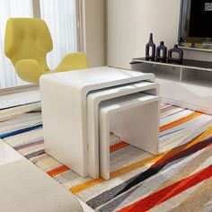HIGH GLOSS NESTING END TABLE SET OF 3 SIDE TABLE COFFEE TABLE WHITE | eBay