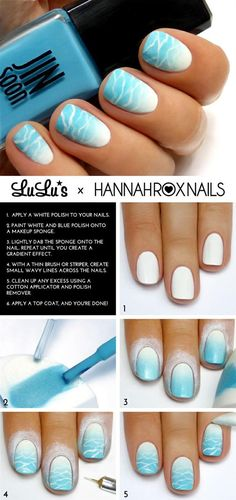 Beachy Waves Nail Art Tutorial -  Head over to Pampadour.com for more fun and cute nail art designs! Pampadour.com is a community of beauty bloggers, professionals, brands and beauty enthusiasts! #nails #nailpolish #polish #nailart #naildesign #cute #fun #pretty #howto #tutorial #beauty #manicure #beach