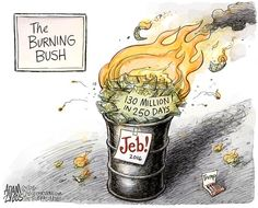 Jeb campaign, Adam Zyglis,The Buffalo News,bush, burning, jeb, campaign, trump, cash, spent, gop, republican, race, election, primary, trump, donald, conservatives, evangelicals